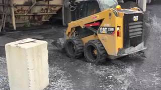 solid skid steer tires in a rock quarry