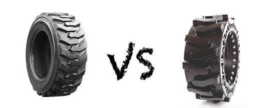 pneumatic skid steer tires vs hard surface skid steer tires